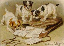 MAGUIRE, HELENA London 1860 - 1909 3 Puppies on a
