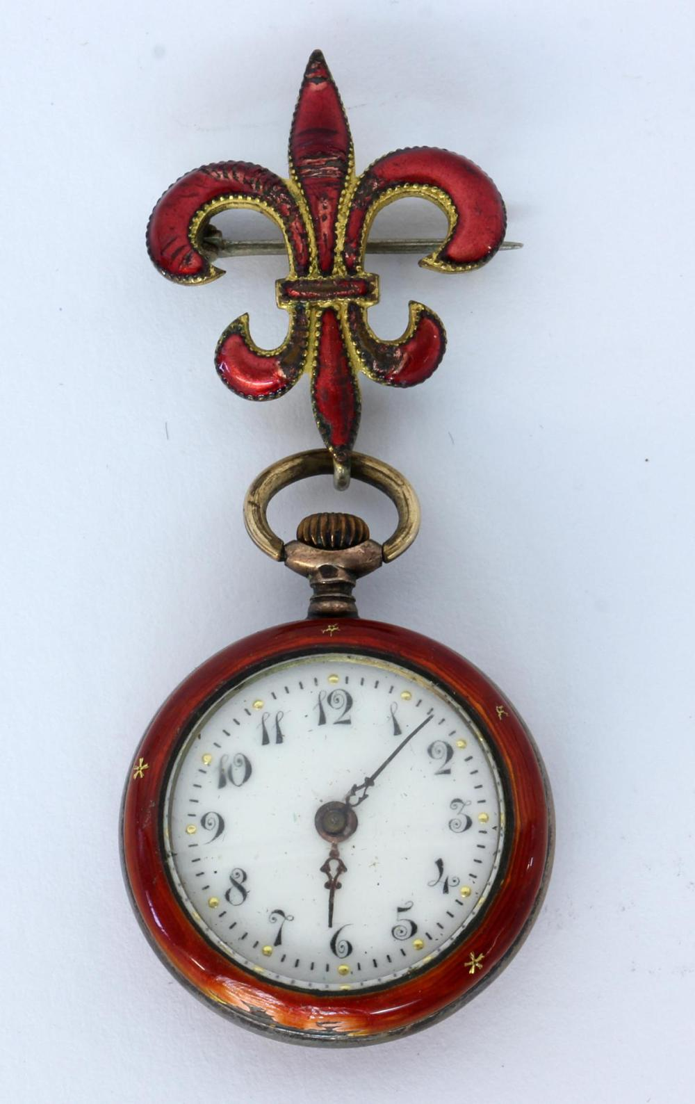 A LADIES PENDANT WATCH Silver with red guilloche