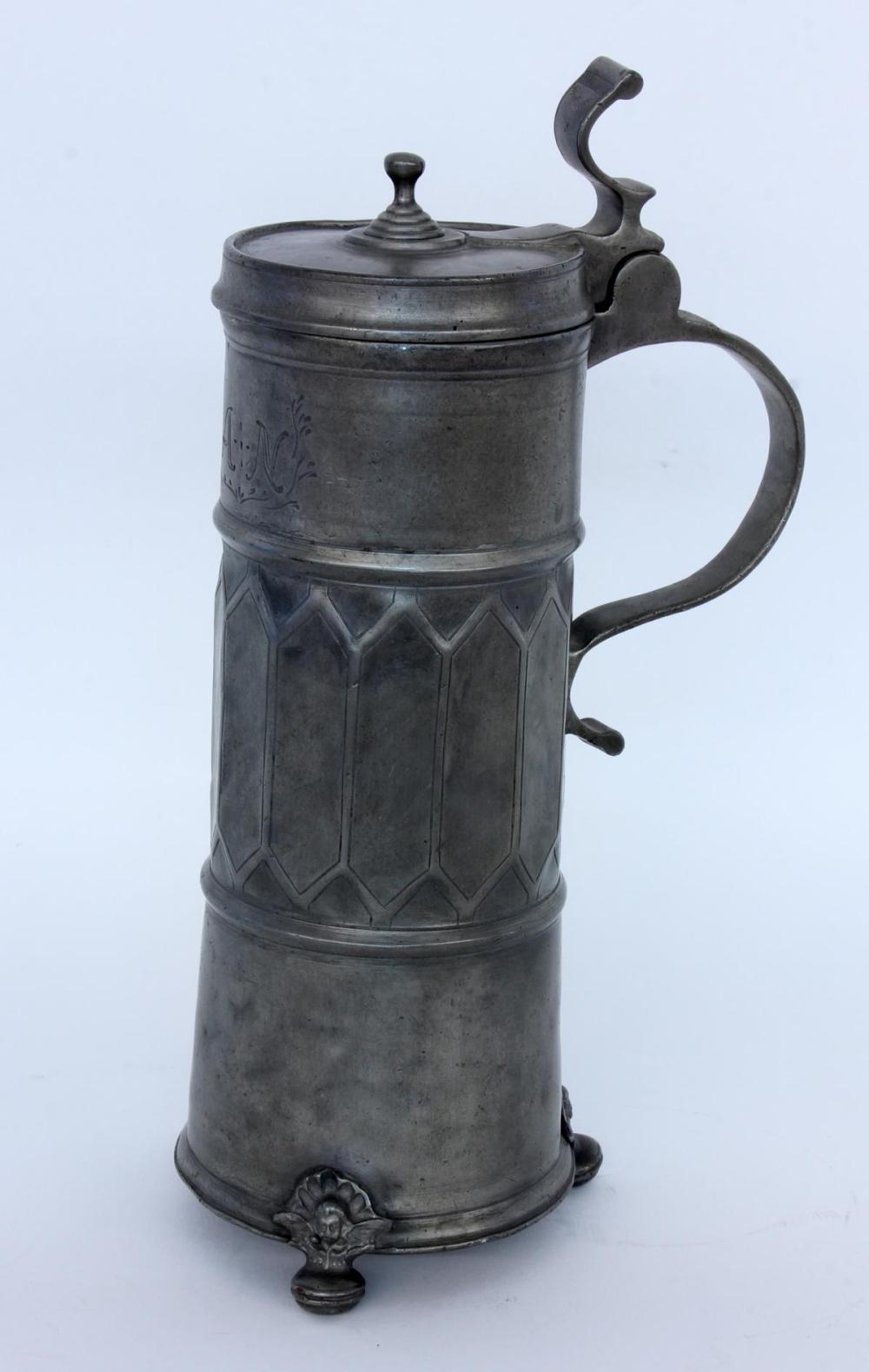 A HISTORICISM BEER STEIN 19th century Pewter
