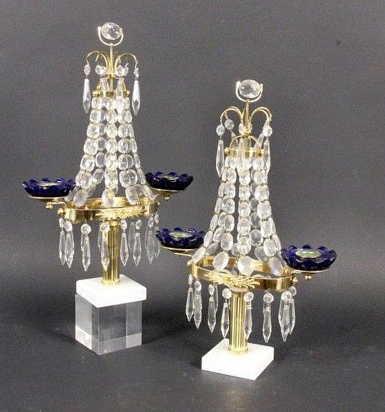 A PAIR OF CANDLESTICKS 2-light. Brass with glass