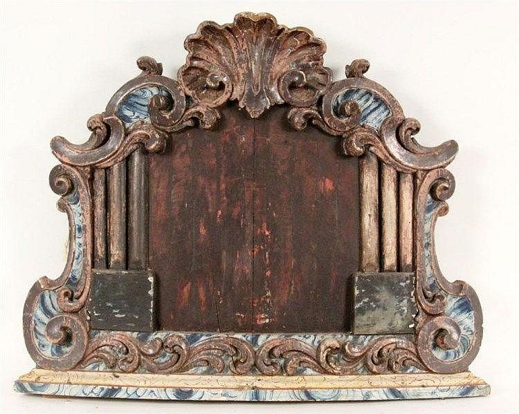 A BAROQUE REREDOS 1750 Wood with an old, partly