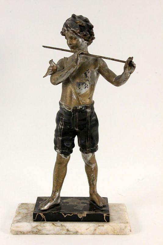 A BOY WITH A TRASVERSE FLUTE ca. 1920 Painted