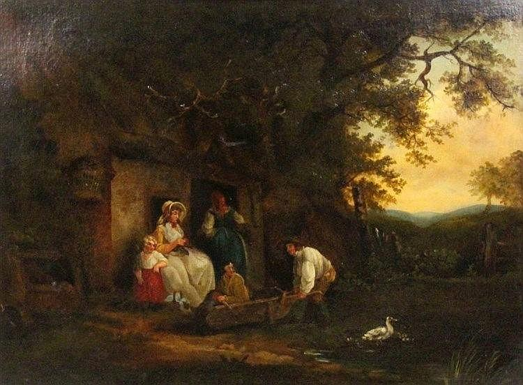 GENRE PAINTER 19th century Family idyll. Oil on