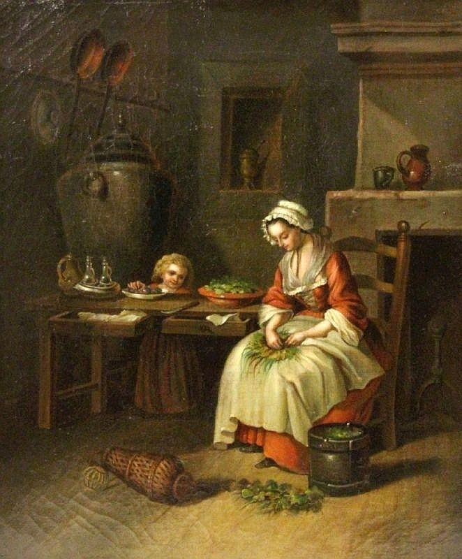 GENRE PAINTER 19th century Mother with child