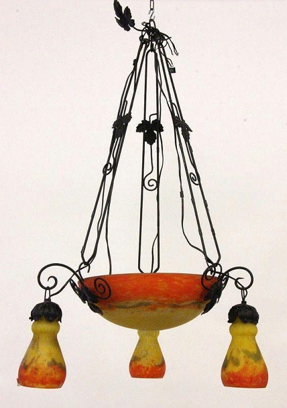 AN ART NOUVEAU HANGING LAMP