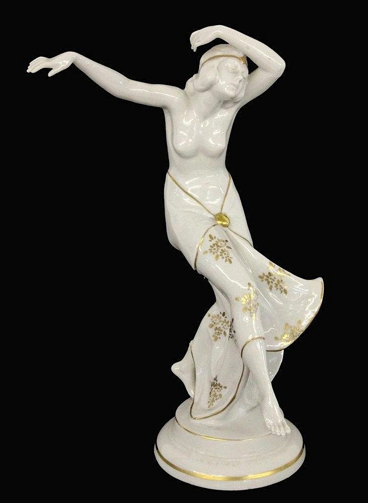 AN ART DECO DANCER Katzhuette, 20th century White