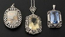 A LOT OF 3 ART DECO SILVER PENDANTS with