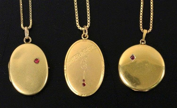 A LOT OF THREE LOCKETS ca. 1900 With chains