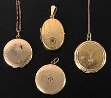 A LOT OF 4 LOCKETS ca. 1900 3 with chains