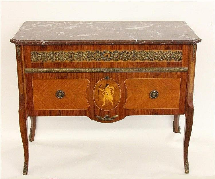 A LOUIS XV STYLE COMMODE Rosewood with inlaid