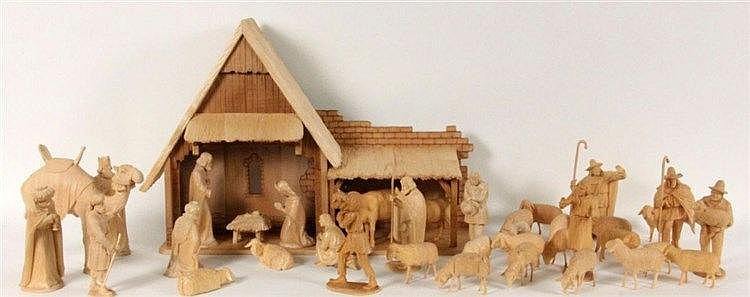 AN \ERZGEBIRGER\ NATIVITY SCENE with 37 wooden