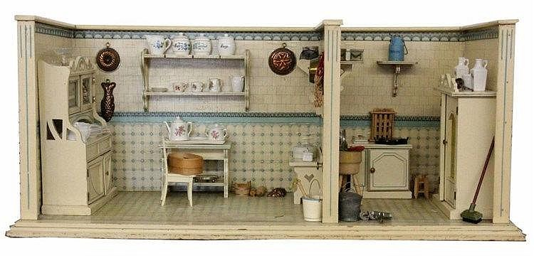 A DOLL HOUSE ca. 1900 Two rooms. Plus equipment