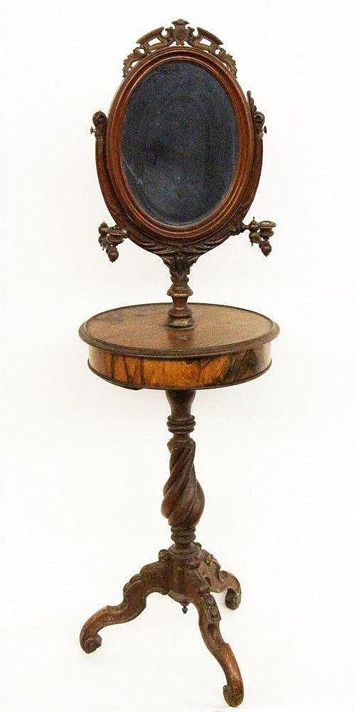 A SMALL DRESSING TABLE ca. 1900 Walnut. Drum