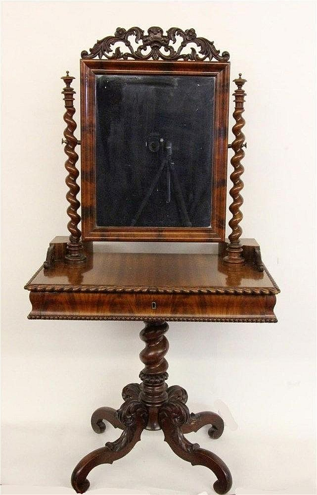 A DRESSING TABLE ca. 1900 Walnut. Rectangular