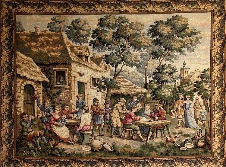 A FLEMISH TAPESTRY with celebration scene after