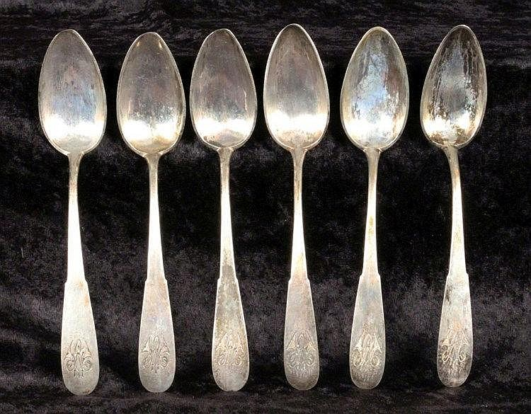 A SET OF 6 BIEDERMEIER COFFEE SPOONS probably