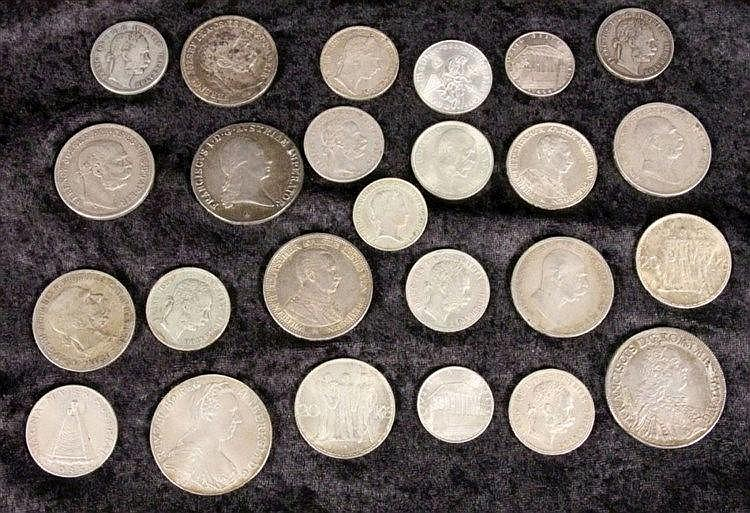 A LOT OF 25 SILVER COINS 18th - 20th century