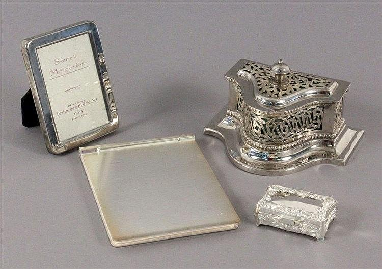 FOUR SILVER-PLATED ITEMS Picture frame, sweetener