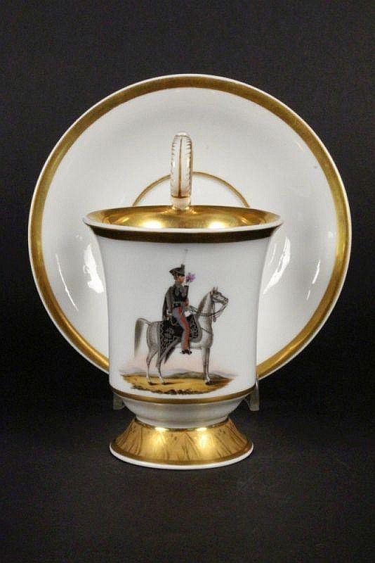 A PRUSSIAN MILITARIA CUP WITH SAUCER KPM Berlin