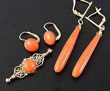 CORAL SET JEWELLERY 585/000 yellow gold
