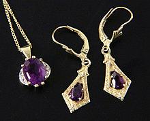 AMETHYST SET JEWELLERY 585/000 yellow gold