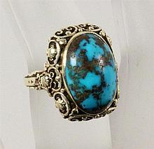 A TURQUOIS RING 585/000 yellow gold, ca
