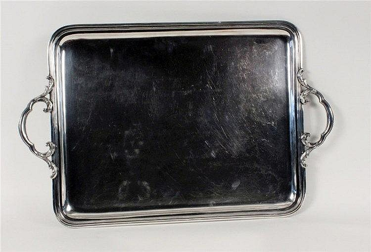 A LARGE TRAY Ercuis, France Silver-plated metal