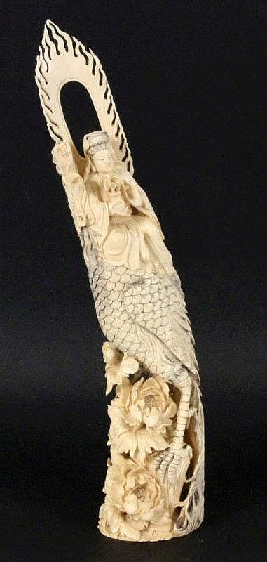 ENTHRONED GODDESS China ca. 1900 Fine ivory