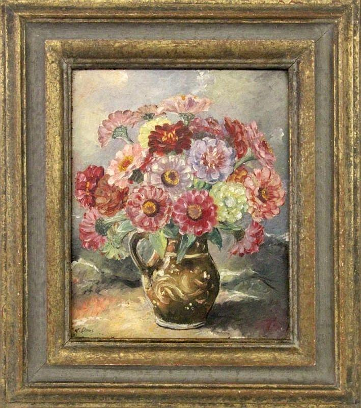 DITTES, L. 20th century Flowers in the vase. Oil