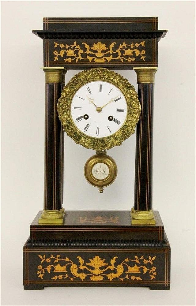 A COLUMN CLOCK France, 19th century Ebonised