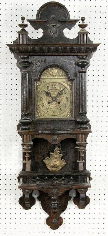 AN HISTORICISM WALL CLOCK German ca. 1890 Dark