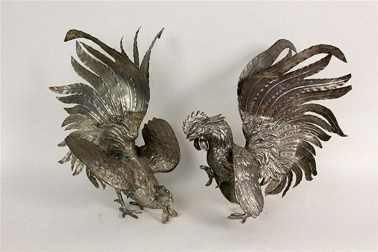 A PAIR OF GAME COCKS AS TABLE DECORATION