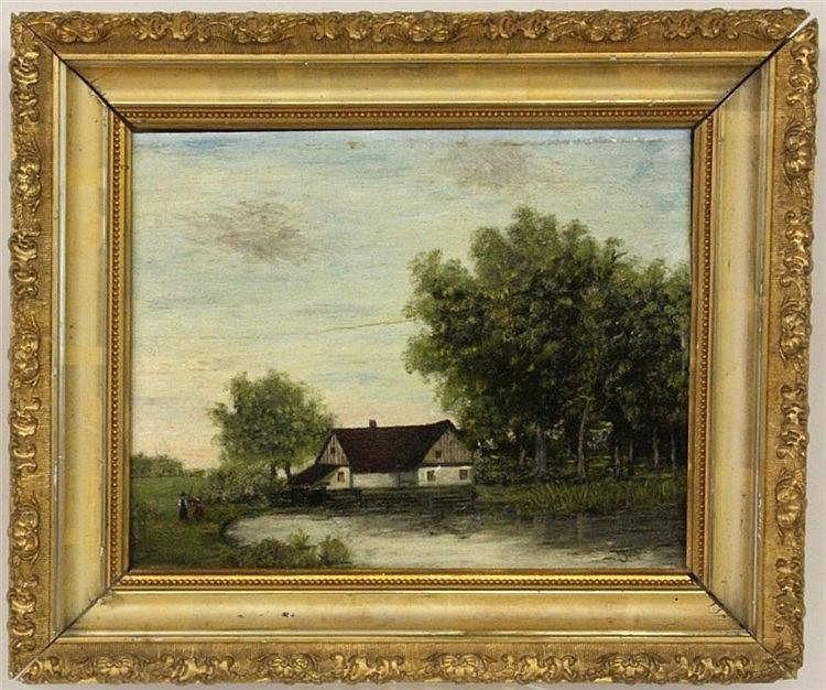 GANTER, J. (?) Scandinavian painter ca. 1900 Farm