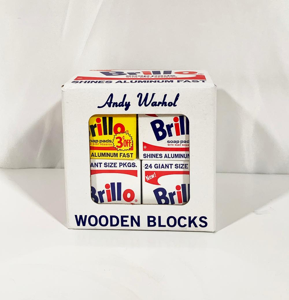 8 Piece Mudpuppy andy Warhol Brillo Wooden Blocks