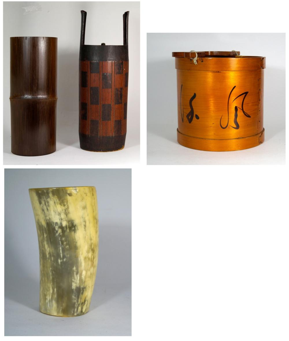 Japanese Three wooden vessels and a large horn cup