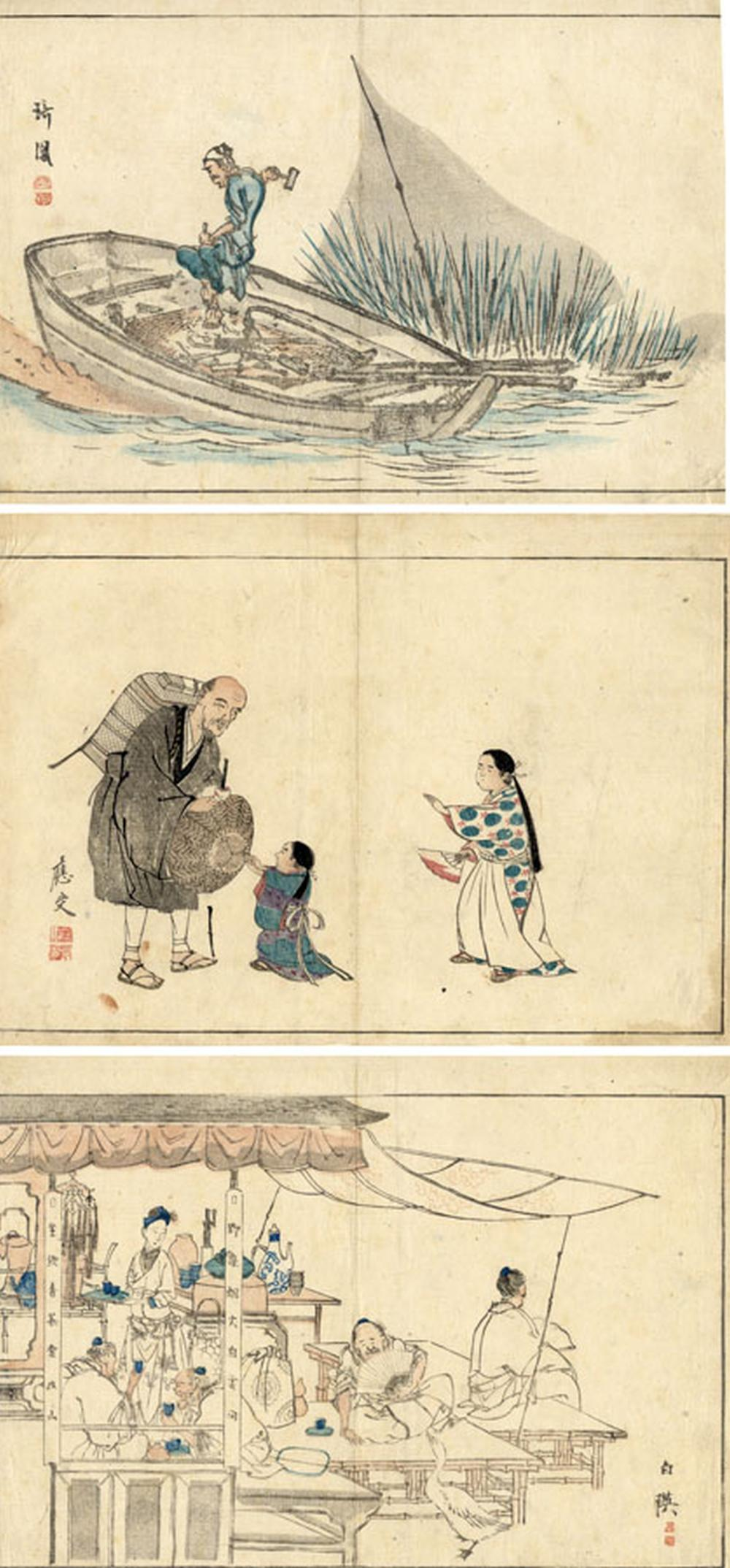 Japanese Woodblock Print, Mixed lot, three album pages approx. 25.5 x 36 cm, album 1814