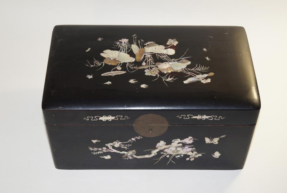 Chinese Lacquer box with mother of pearl decoration