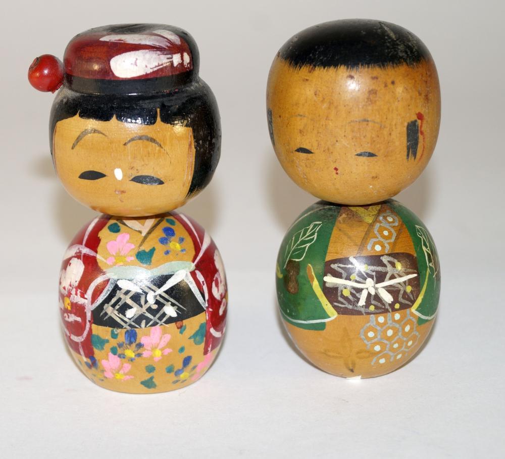 Japanese Sosaku Donko Kokeshi dolls, couple