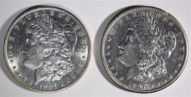 1897-S AU & 1901-O CH BU MORGAN DOLLAR
