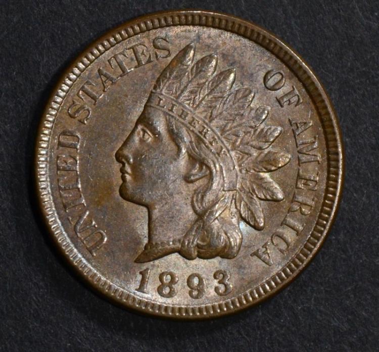 1893 INDIAN CENT GEM BU BROWN