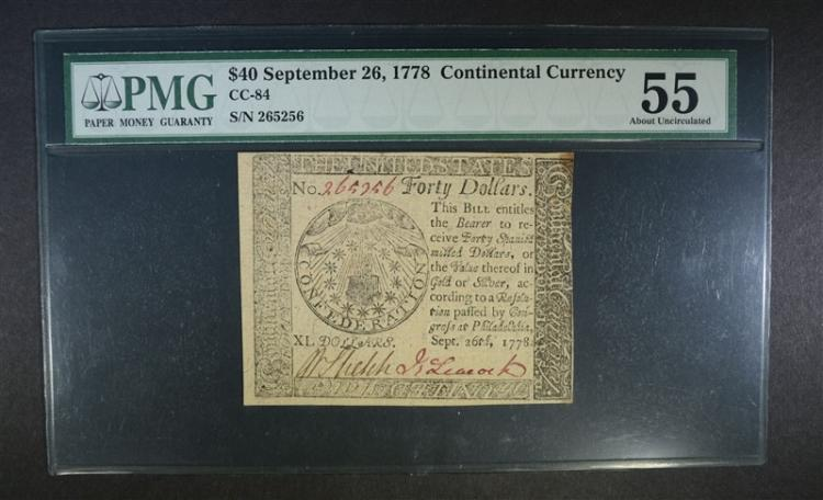 1778 $40 CONTINENTAL CURRENCY PMG 55