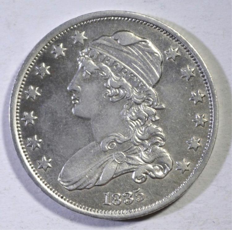 1835 BUST QUARTER AU/BU CLEANED