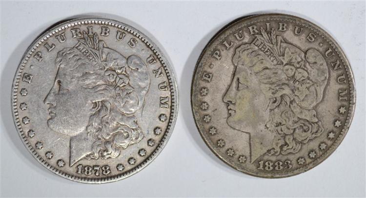 18787/8 TF XF & 1883-S VF/XF MORGAN DOLLARS