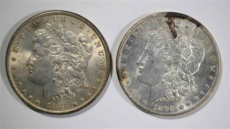 1885 & 1898 MORGAN DOLLARS AU/BU