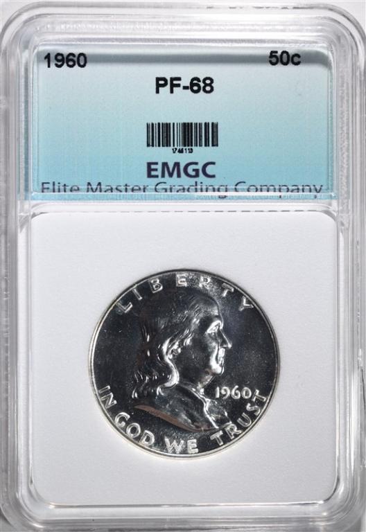 1960 FRANKLIN HALF DOLLAR, EMGC SUPERB GEM PROOF+