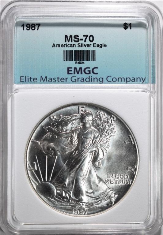 1987 AMERICAN SILVER EAGLE EMGC PERFECT