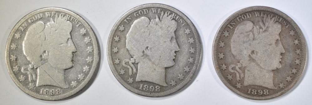 1898, 98-O & 98-S BARBER HALF DOLLARS