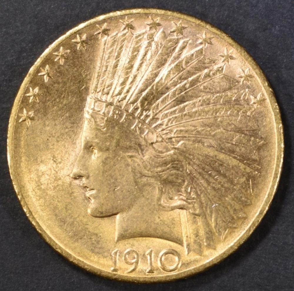 1910-D GOLD $10 INDIAN CH/GEM UNC