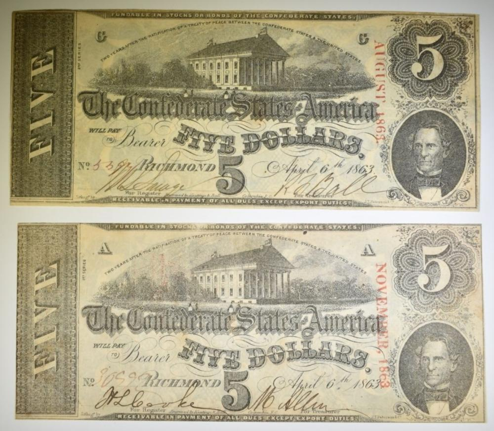 2-1863 $5 CONFEDERATE NOTES