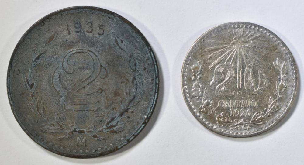 LOT OF 2 MEXICO COINS:
